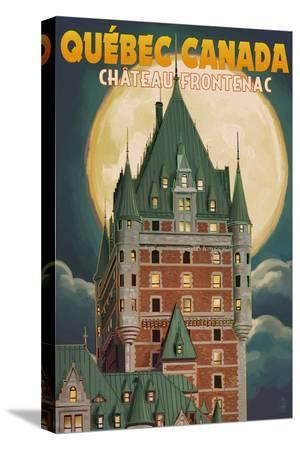 Quebec City, Canada - Chateau Frontenac and Full Moon