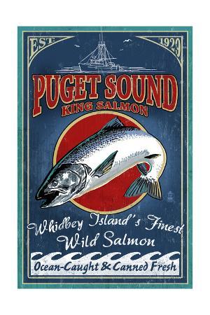 Whidbey Island, Washington - Salmon Vintage Sign