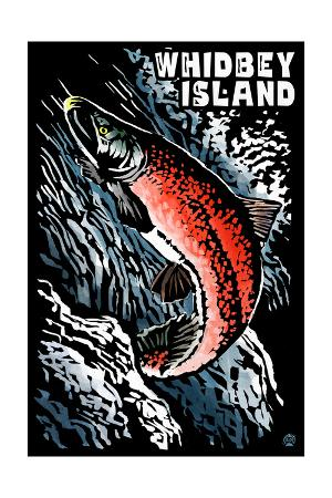 Whidbey Island, Washington - Salmon - Scratchboard