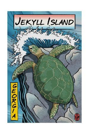 Jekyll Island, Georgia - Sea Turtle - Woodblock Print