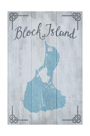 Block Island, Rhode Island - Distressed Sign
