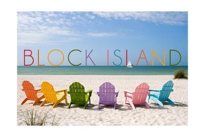 Block Island, Rhode Island - Colorful Beach Chairs