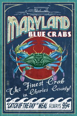 Charles County, Maryland - Blue Crab Vintage Sign