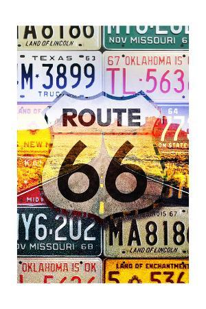 Route 66 License Plates - Highway Road