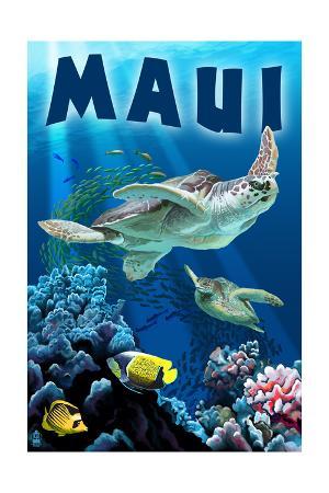 Maui, Hawaii - Sea Turtles Swimming