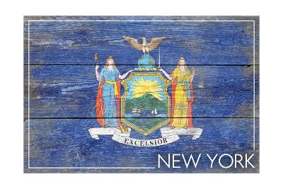 New York State Flag - Barnwood Painting