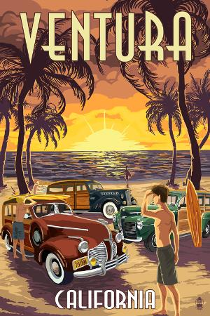 Ventura, California - Woodies on the Beach