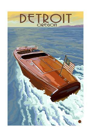 Detroit, Oregon - Wooden Boat on Lake