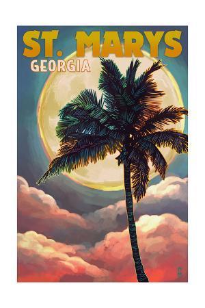 St. Marys, Georgia - Palm and Moon (Sunset Version)