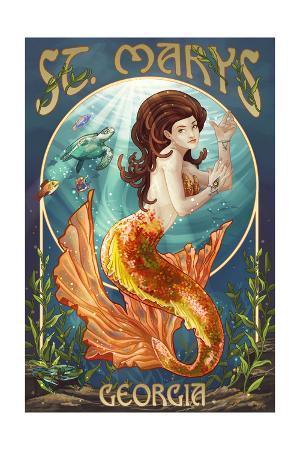 St. Marys, Georgia - Mermaid