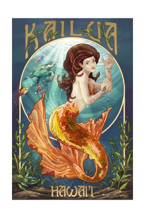 Kailua, Hawaii - Mermaid (Orange Tail)