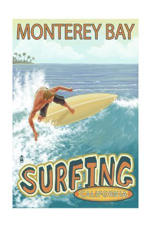 Monterey Bay, California - Surfer Scene