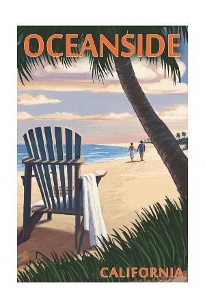 Oceanside, California - Adirondack Chair on the Beach
