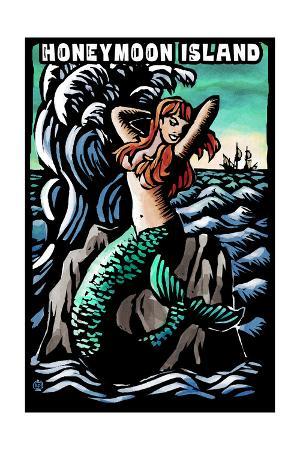 Honeymoon Island, Florida - Mermaid - Scratchboard