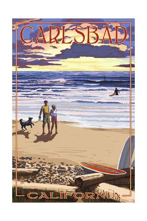 Carlsbad, California - Beach Scene and Surfers
