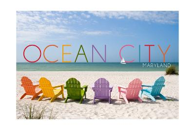 Ocean City, Maryland - Colorful Beach Chairs