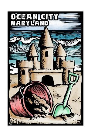 Ocean City, Maryland - Sandcastle - Scratchboard