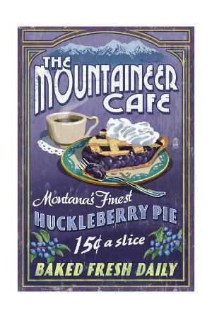 Montana - the Mountaineer Cafe - Huckleberry Pie Vintage Sign
