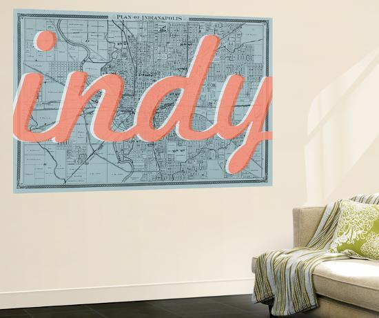 Indy - 1876, Indianapolis - Plan, Indiana, United States Map Wall ...