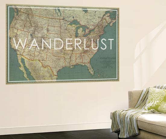 Wanderlust - 1933 United States of America Map Wall Mural by ...