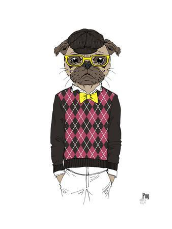 Pug in Hipster Style