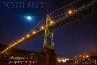 Portland, Oregon - St. Johns Bridge and Moon