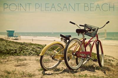 Point Pleasant Beach, New Jersey - Bicycles and Beach Scene