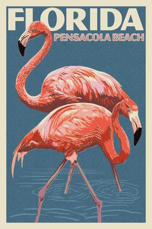 Pensacola Beach, Florida - Flamingo - Letterpress