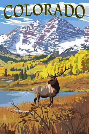 Colorado - Maroon Bells and Elk