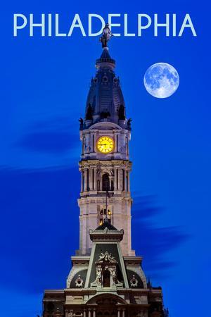Philadelphia, Pennsylvania - City Hall and Full Moon