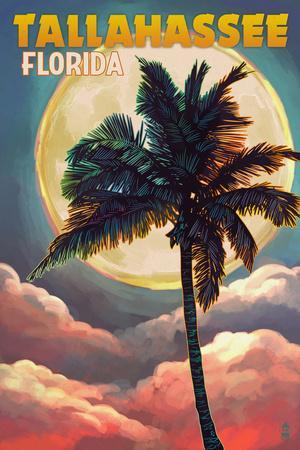 Tallahassee, Florida - Palm and Full Moon