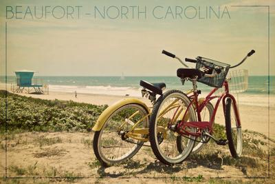 Beaufort, North Carolina - Bicycles and Beach Scene