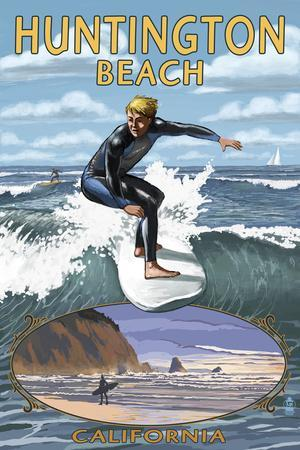 Huntington Beach, California - Day Surfer with Inset