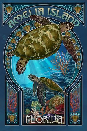 Amelia Island, Florida - Sea Turtle Art Nouveau