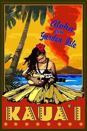 Hula Girl and Ukulele - Kauai, Hawaii