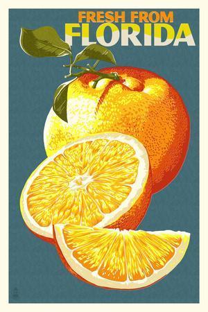 Florida - Fresh Oranges - Letterpress