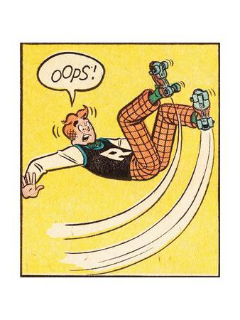 Archie Comics Retro: Archie Comic Panel; Rollerskating Oops! (Aged)