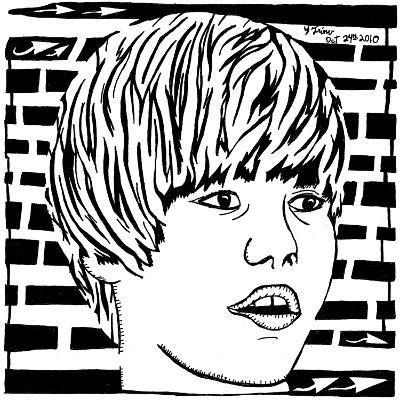 Maze Portrait of Justin Bieber Psychedelic