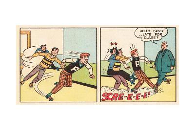Archie Comics Retro: Archie Comic Panel; Archie, Reggie, Jughead and Mr. Weatherbee  (Aged)