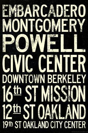 San Francisco Oakland BART Stations Subway Travel Poster
