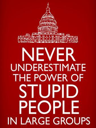 Never Underestimate Stupid People in Large Groups Poster