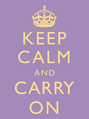 Keep Calm and Carry On Motivational Lilac Art Print Poster