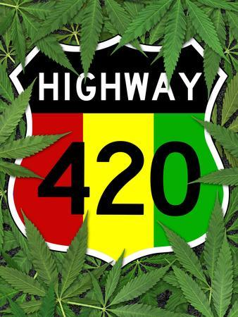 Highway 420 Marijuana Sign Poster Print