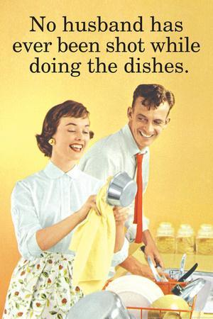 No Husband Shot While Doing Dishes Funny Poster