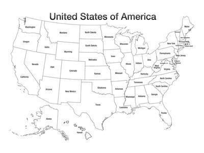 United States Of America Map Usa Coloring Art Poster Print