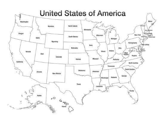 Print Map Of Usa.United States Of America Map Usa Coloring Art Poster Print Prints At