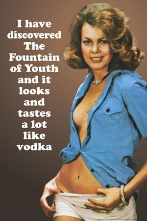 I Discovered Fountain Of Youth It Tastes Like Vodka Funny Poster