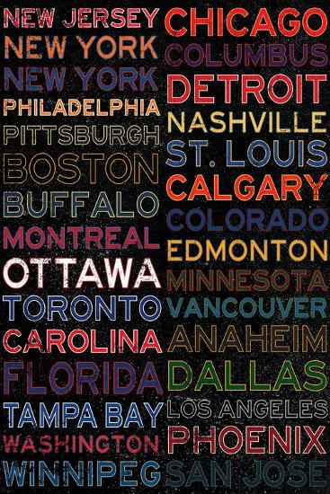 National Hockey League Cities Colorful Posters At Allposters Com