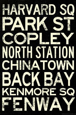 Boston MBTA Stations Vintage Subway Travel Poster