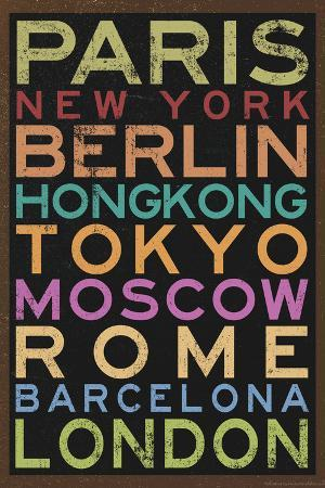 Cities of the World Colorful Retro Metro Travel